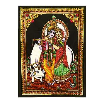 wall hanging decor Lord Krishna Radha tapestry cloth poster