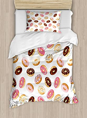 ambesonne food duvet cover set twin size american traditional classic breakfast fast food dessert sweet