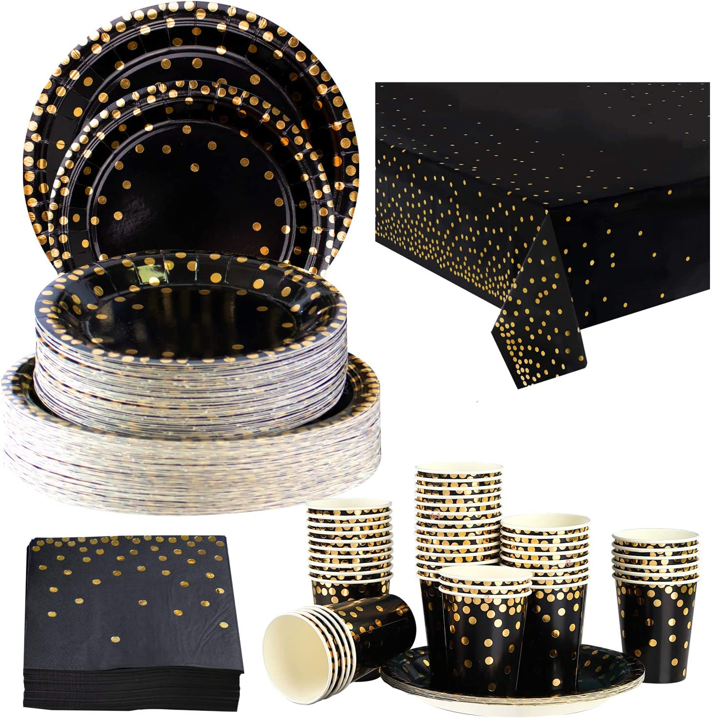 Serves 16 NEI Baby Shower Party Supplies Black Gold Party Tableware Set 114Pcs Disposable Plates Paper Cups Plates Napkins Banner Cake Topper for Baby Showers 1st Birthday Decorations