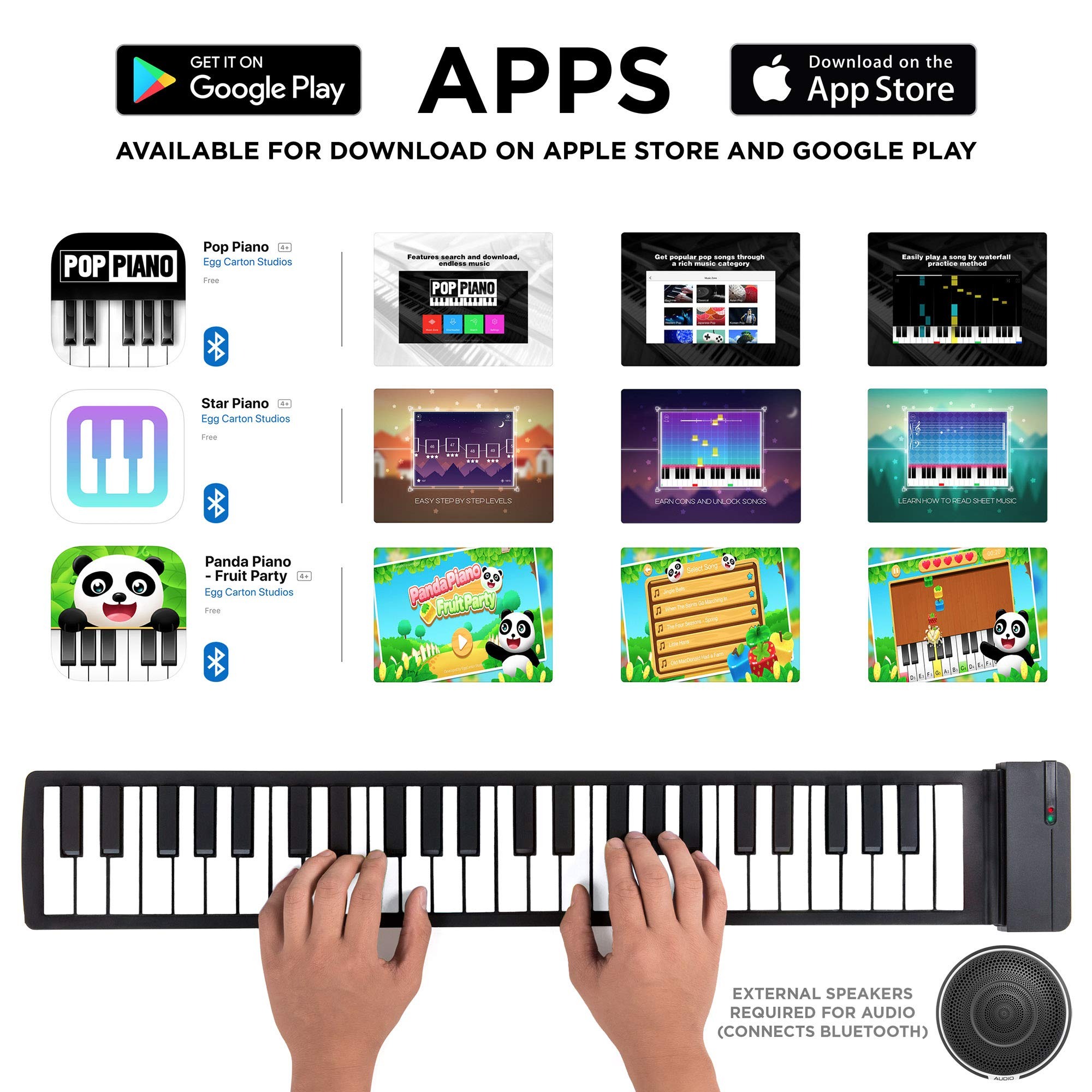 Best Choice Products Kids 49-Key Portable Flexible Roll-Up Piano Keyboard Musical Educational Toy Instrument w/Learn-To-Play App Game, Bluetooth Phone Pairing, Note Labels, USB Charging - White by Best Choice Products (Image #3)