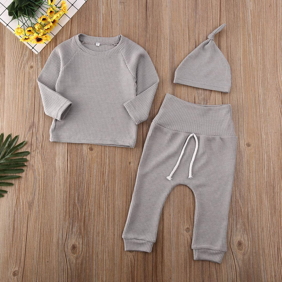 Pudcoco Newborn Baby Boys Girls Waffle Cotton Homewear Outfit with Hat Long Sleeve Top+Pants Pajamas Set