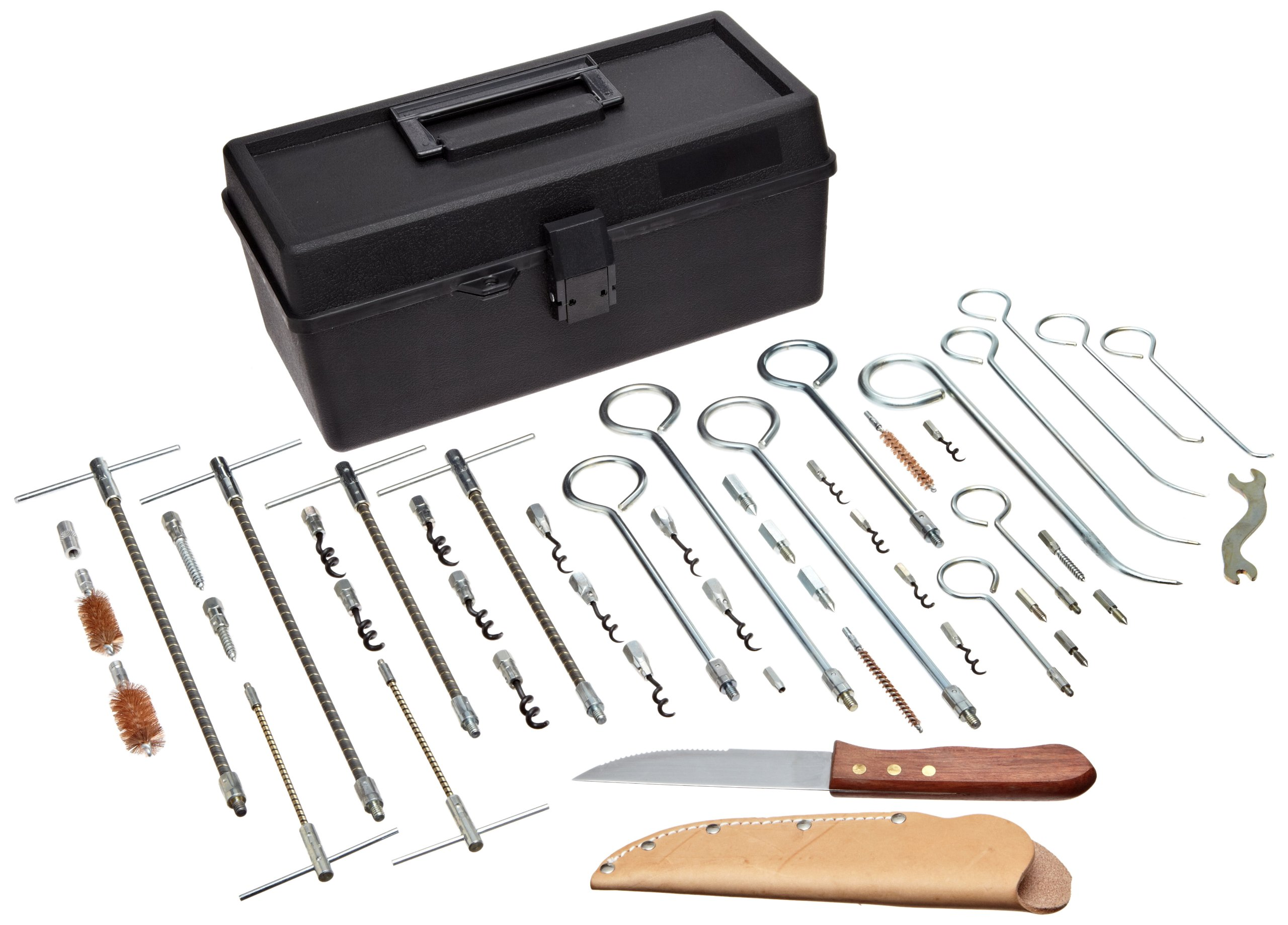Palmetto 1133 Packing Extractor Tool Kit, Includes: (2) 1101 Flexible extractors with tips, (2) 1102, (2) 1103, (2) S1 Stiff extractors, (2) S2, (2) S3, (1) 1113 Solid Shaft Extractors, (1) 1114, (1) 1115, (2) O-Ring Extractor, (5) 1107 Cork screw tips, (