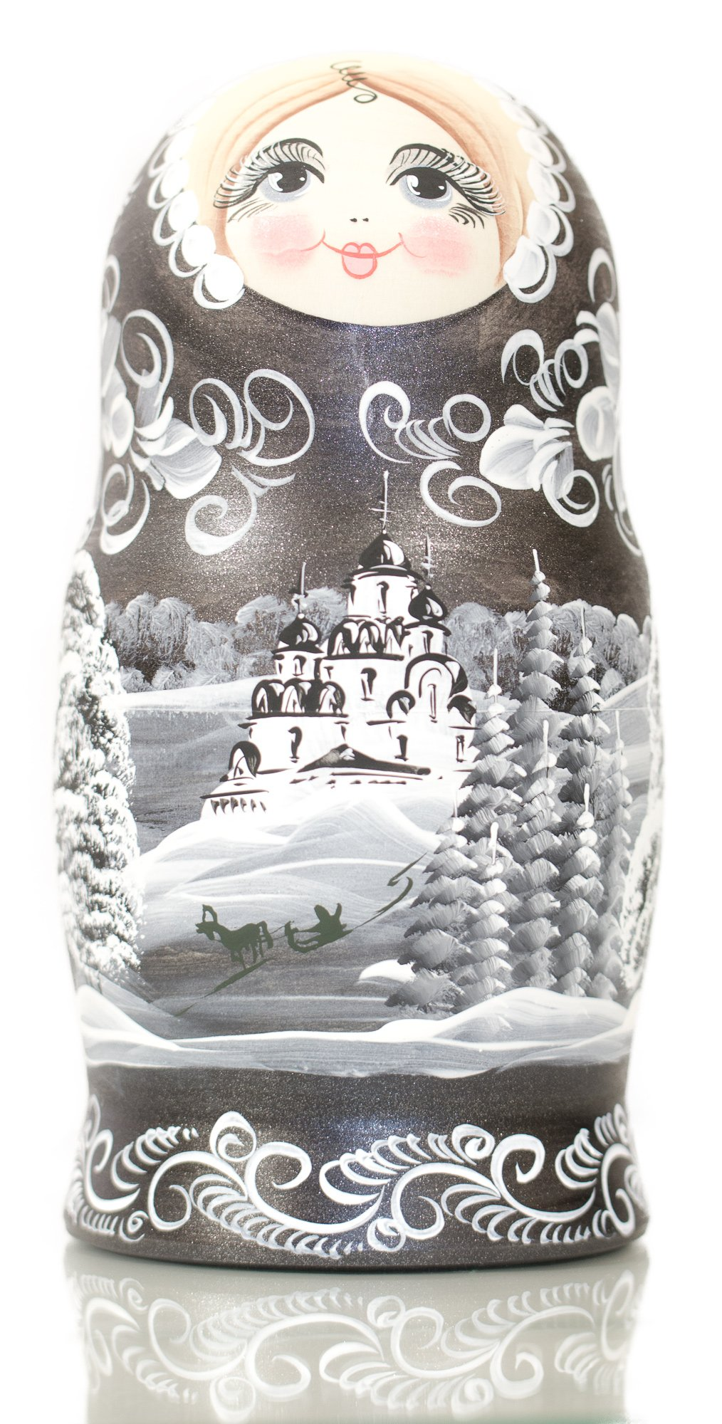 Russian Nesting Doll - ''Winter`s Tale'' - Hand Painted in Russia - MOSCOW KREMLIN GIFT BOX - Wooden Decoration Gift Doll - Traditional Matryoshka Babushka (8`` (7 dolls in 1), Silver Night) by craftsfromrussia (Image #6)