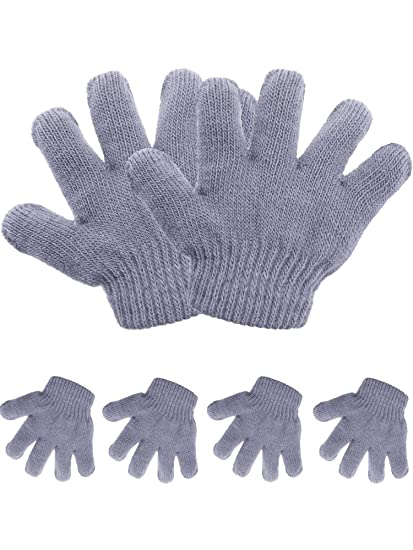 new arrival cheaper top brands Pangda 5 Pairs Toddler Winter Gloves Kids Knitted Gloves Warm Stretchy 5  Fingers Mitten for 1 to 3 Years Old Boys Girls (Gray)