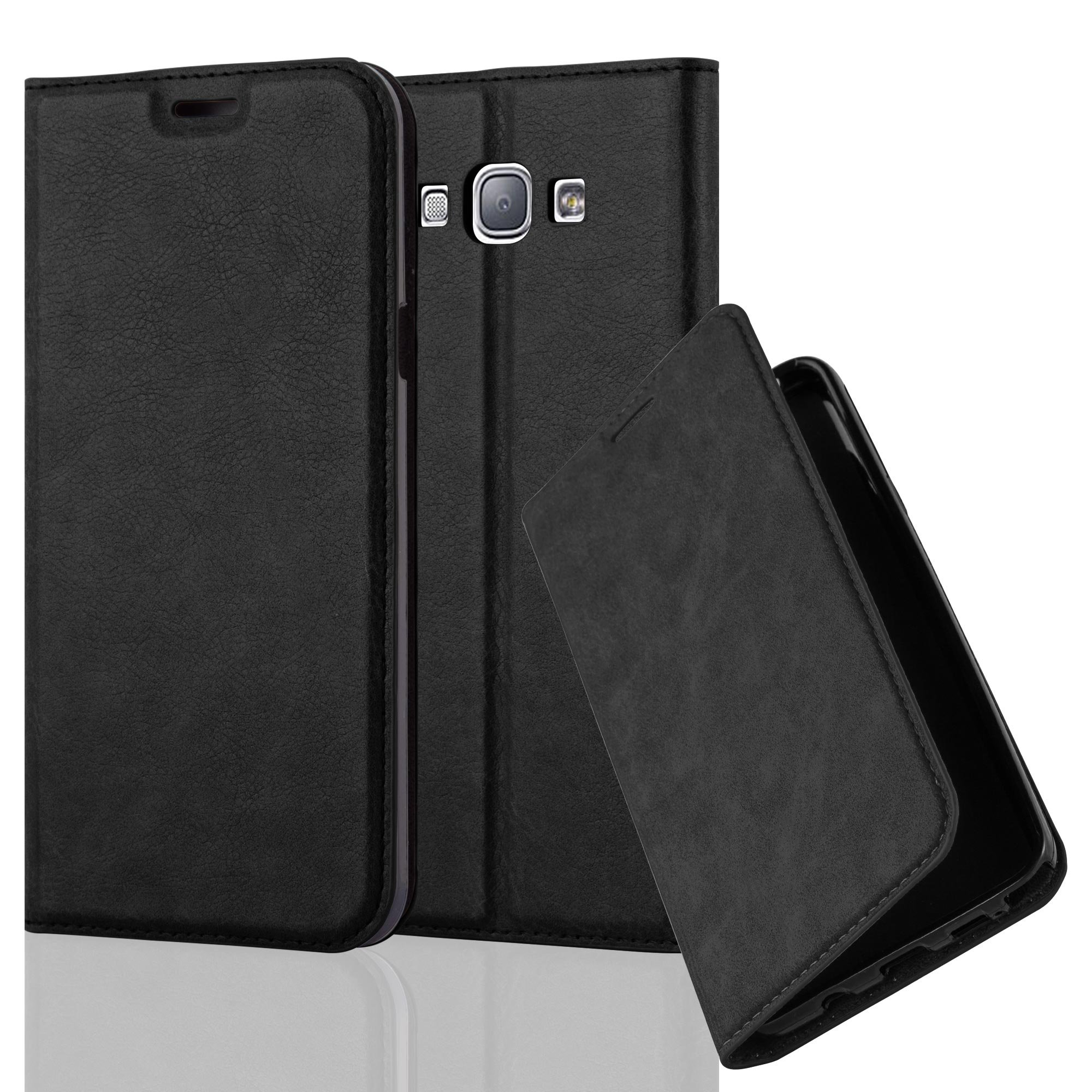 Cadorabo Case Works with Samsung Galaxy A8 2015 (5) Book Case in Night Black (Design Invisible Closure) – with Magnetic Closure, Stand Function and Card Slot – Wallet Case Etui Cover PU Leather