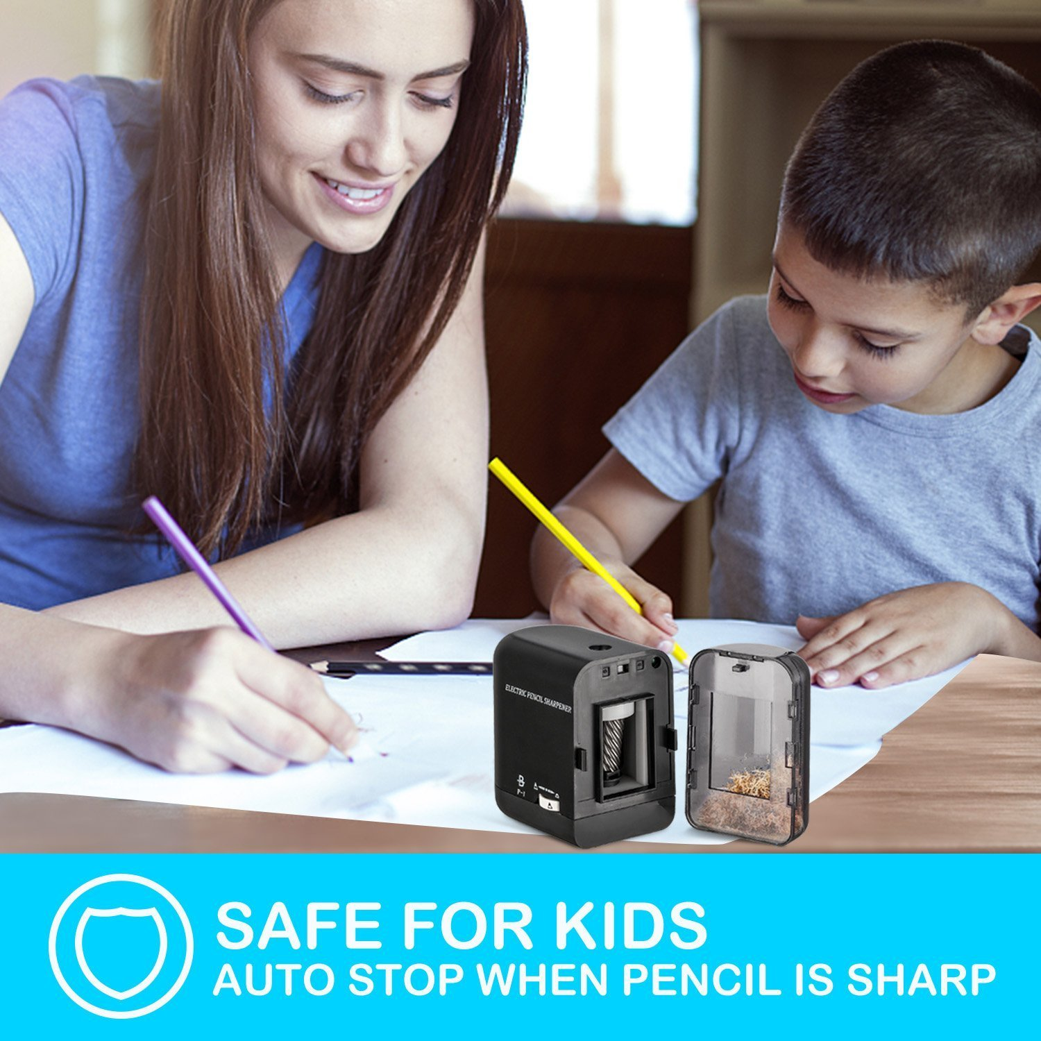 BOOCOSA Pencil Sharpener, BEST Heavy Duty Steel Blade, Electric Pencils Sharpener with Auto Stop for School Classroom Office Home – Precise Perfect Point Every time for Artists Kids Adults by BOOCOSA (Image #2)