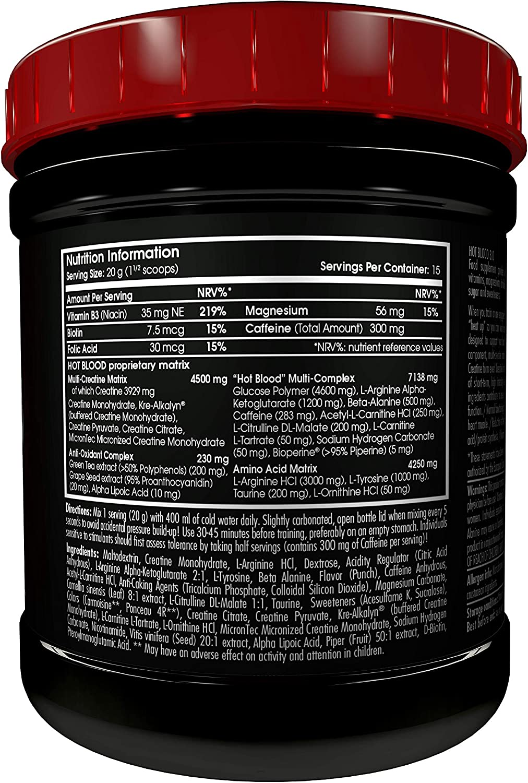 Scitec Nutrition Hot Blood 3.0 Fórmula Pre Entrenamiento Ponche Tropical - 300 g
