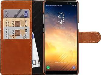 StilGut Talis Case con Tasca per Carte, Custodia in Pelle Cover per Samsung Note 8. Chiusura a Libro Flip-Case in Vera Pelle Fatta a Mano, pratiche Tasche per Carte di Credito, Cognac