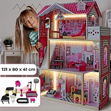 Infantastic Casa delle Bambole in Legno 121x80x41 cm, 3 Livelli di Gioco, 12 Accessori e Mobili Inclusi, 4 Stanze, per Bambole di 27 cm Casetta