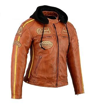 dernières tendances nouveau authentique vraie qualité Veste Cuir Moto Vintage Femme (Camel, 42)