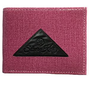 Silver Kartz Men's Brighty Pink Fabricated Genuine Leather Wallet (taj-017)