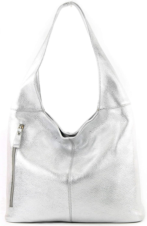modamoda de - Ital Grand sac à bandoulière en cuir T166 Argent