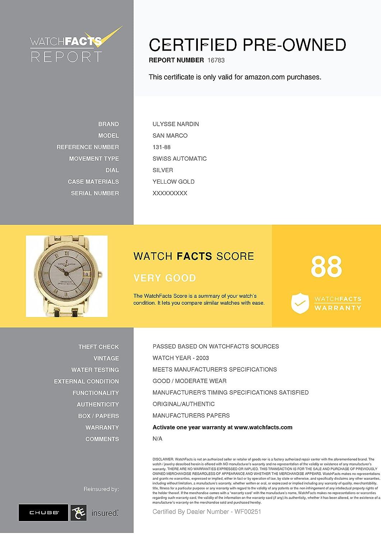 Amazon.com: Ulysse Nardin San Marco swiss-automatic womens Watch 131-88 (Certified Pre-owned): Ulysse Nardin: Watches