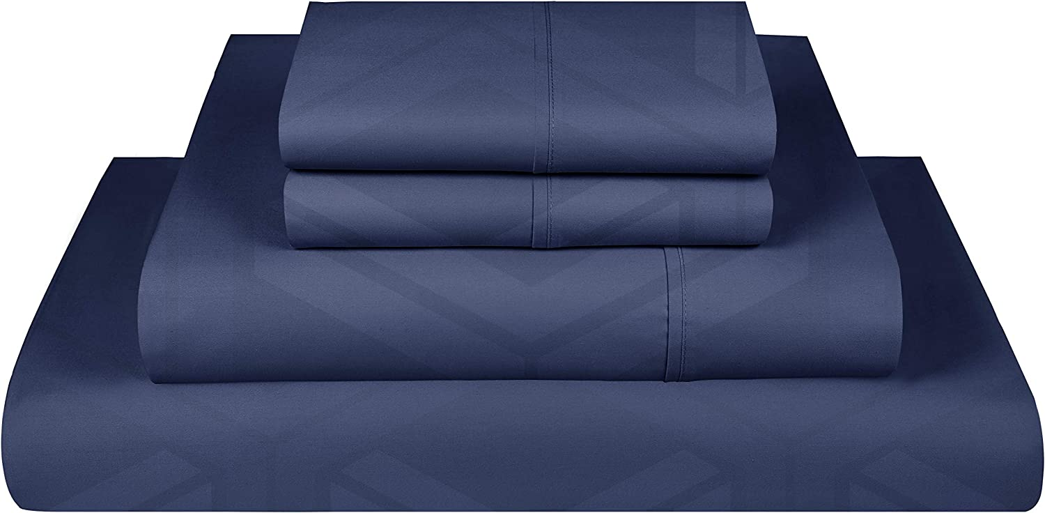 Threadmill Home Linen 600 Thread Count Jacquard Olivia Damask Queen Bed Sheets Set - 100% ELS Cotton Sheets for Queen Size Bed with Deep Pocket, Luxury 4 Piece Set, Smooth Sateen Weave Folkstone Blue