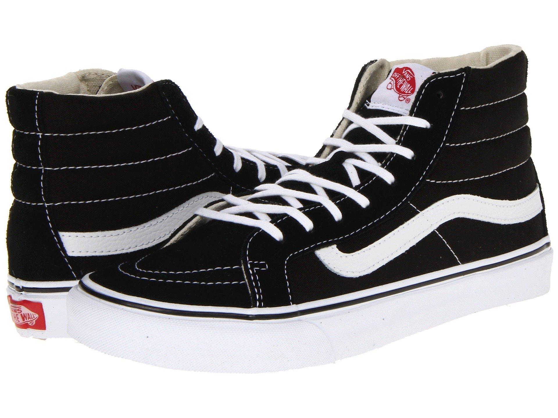 Vans Mens Sk8-Hi Slim Hight Top Lace up Skateboarding Shoes (8 B(M) US Women/6.5 D(M) US Men, Black/True White)