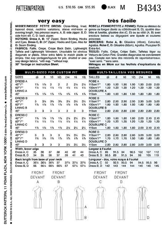 Butterick 4343//6 - Patrón de costura para confeccionar vestido de ...