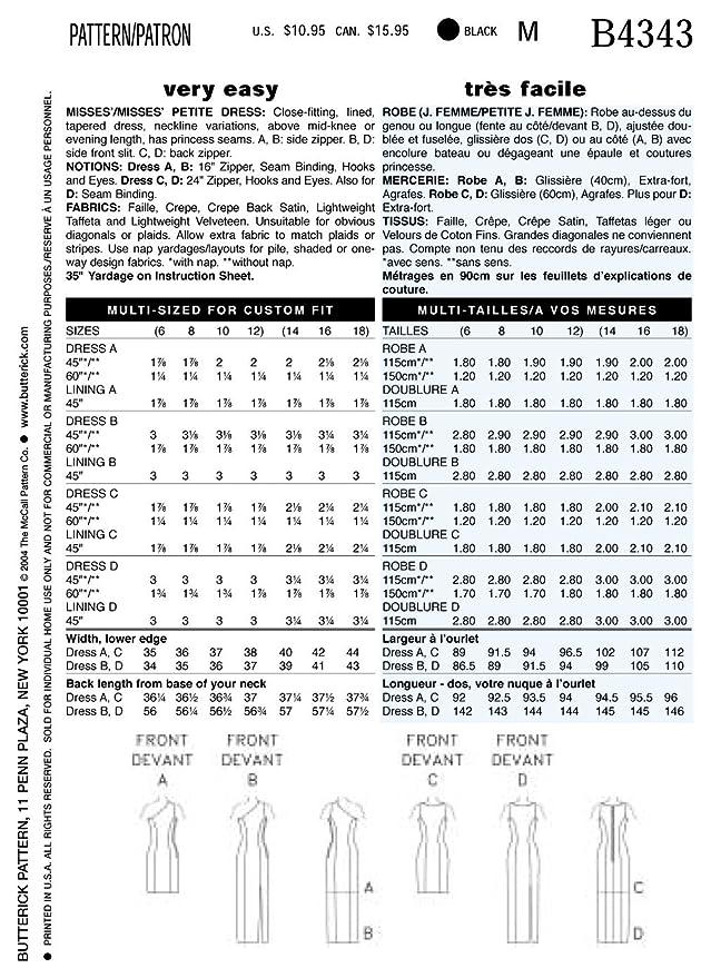 Butterick 4343/6 - Patrón de costura para confeccionar vestido de ...