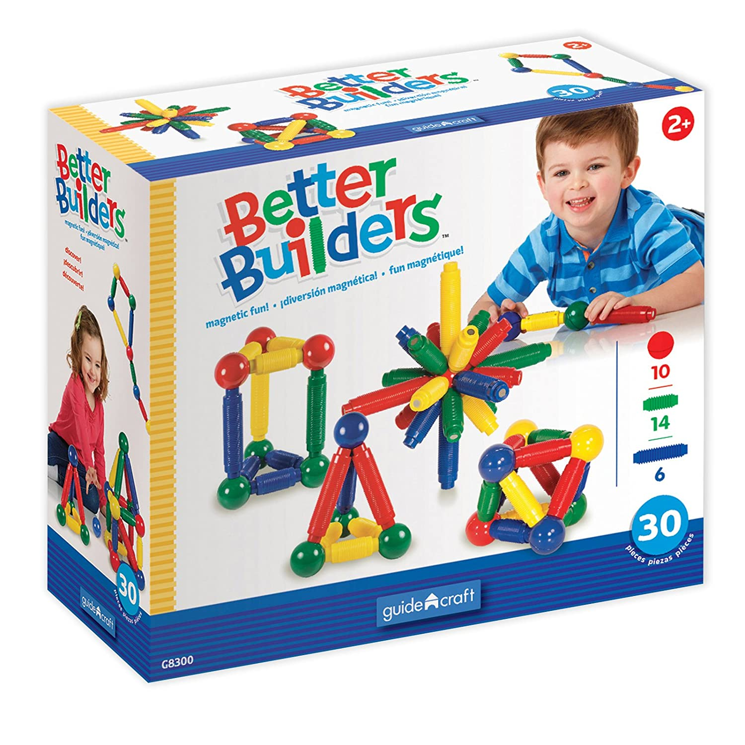 Guidecraft Better Builders 30 - Piece Magnetic Ball and Rod Construction Set, STEM Educational Building Toy 716243083006
