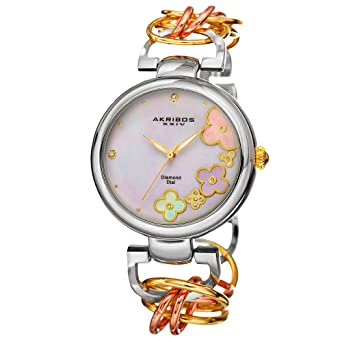 a7f95b4f6 Akribos XXIV Women's Lady Diamond Watch - 14 Genuine Diamonds On a  Mother-of-