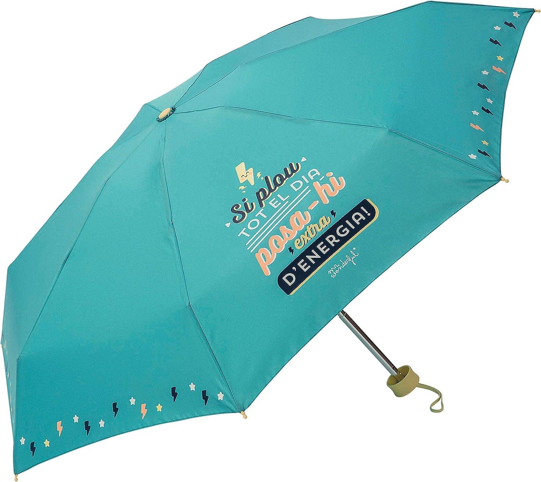 Verde Paraguas Plegable Mr Wonderful Cat Si plou Tot el Dia posa-hi Extra d/´energia