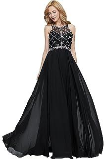 aa73481d7c55 Firose Women's Long Prom Dresses 2019 Scoop Neckline Beaded A Line Formal  Dress