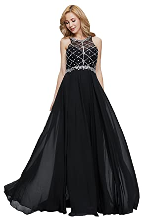 41a2d41e08d1 Firose Women s Scoop Neckline Beaded Long Chiffon Prom Dresses For 2018  Black US2