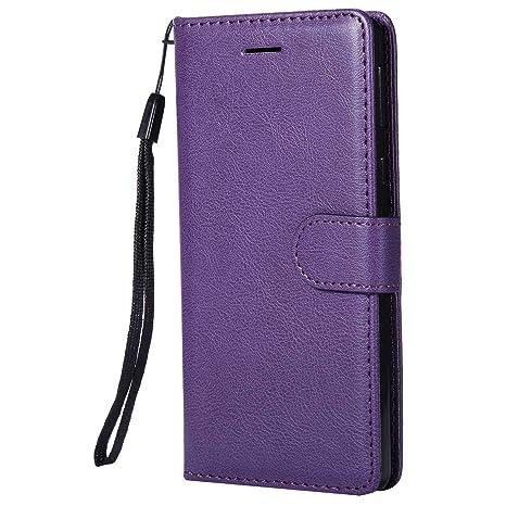 DENDICO Funda Sony Xperia E5, Flip Libro Cuero Carcasa, Diseño Clásico Funda Plegable Cover para Sony Xperia E5 - Púrpura