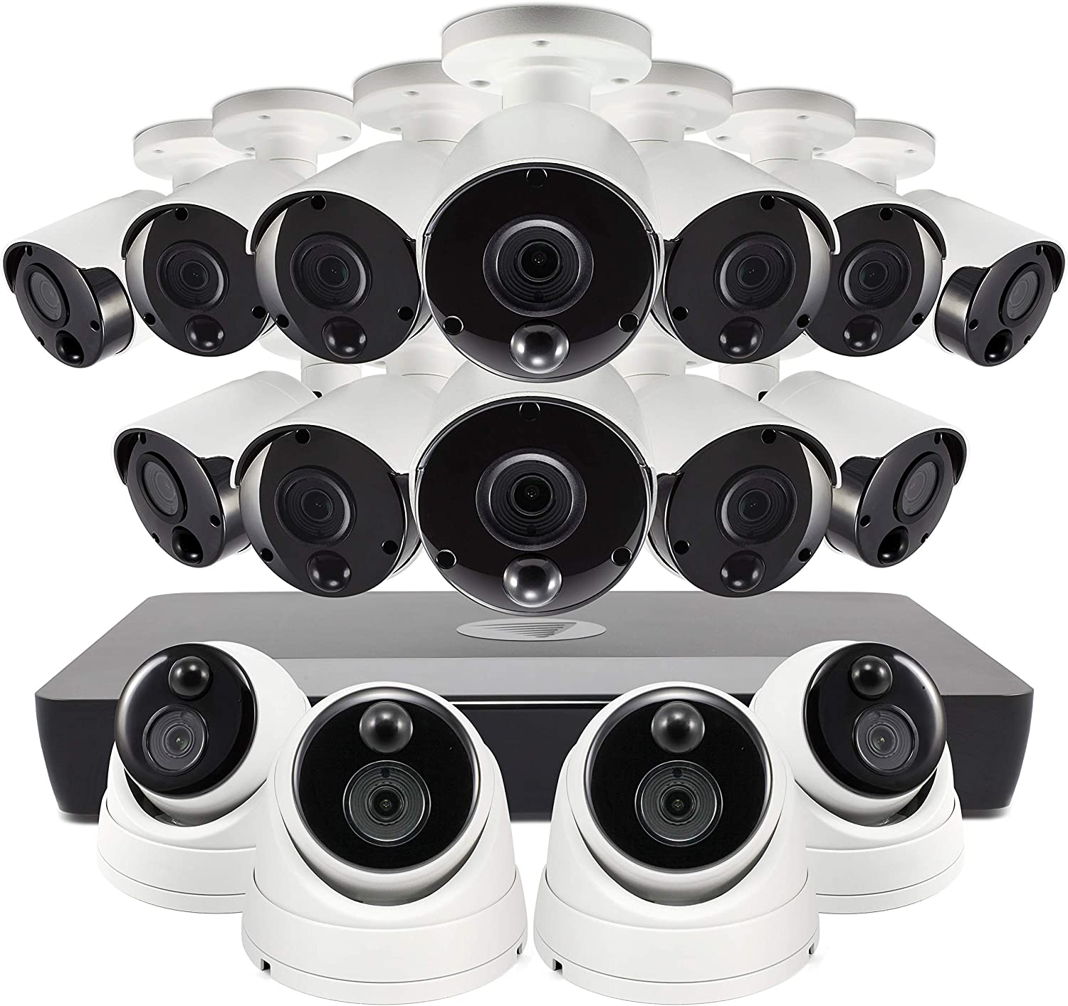 Swann Home PoE Security Camera System, 5mp HD 16 Channel 12 Bullet Cameras 4 Dome Cams, Indoor Outdoor Wired Surveillance NVR, 2TB Hard Drive, Night Vision, Heat Motion Detection, SONVK-1675812B4D