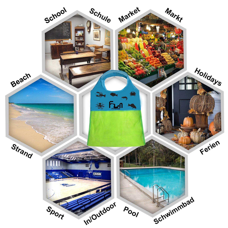 BOLSA DE MALLA (Verde Neón, L) - Bolsa de lona para niños juguetes de playa, conchas, toallas de piscina, traje de baño - Mantenga la arena y el agua lejos ...