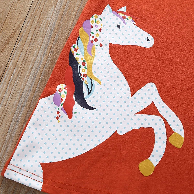 Childrens Short Sleeve Pony Striped Dress,Baby Girl Kid Cartoon Clothes Horse Stripe Print Princess Party Dress