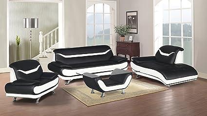 white sofa set living room. U S  Livings Beatrice Modern Living Room Contemporary Sofa Set 4 Black and White Amazon com