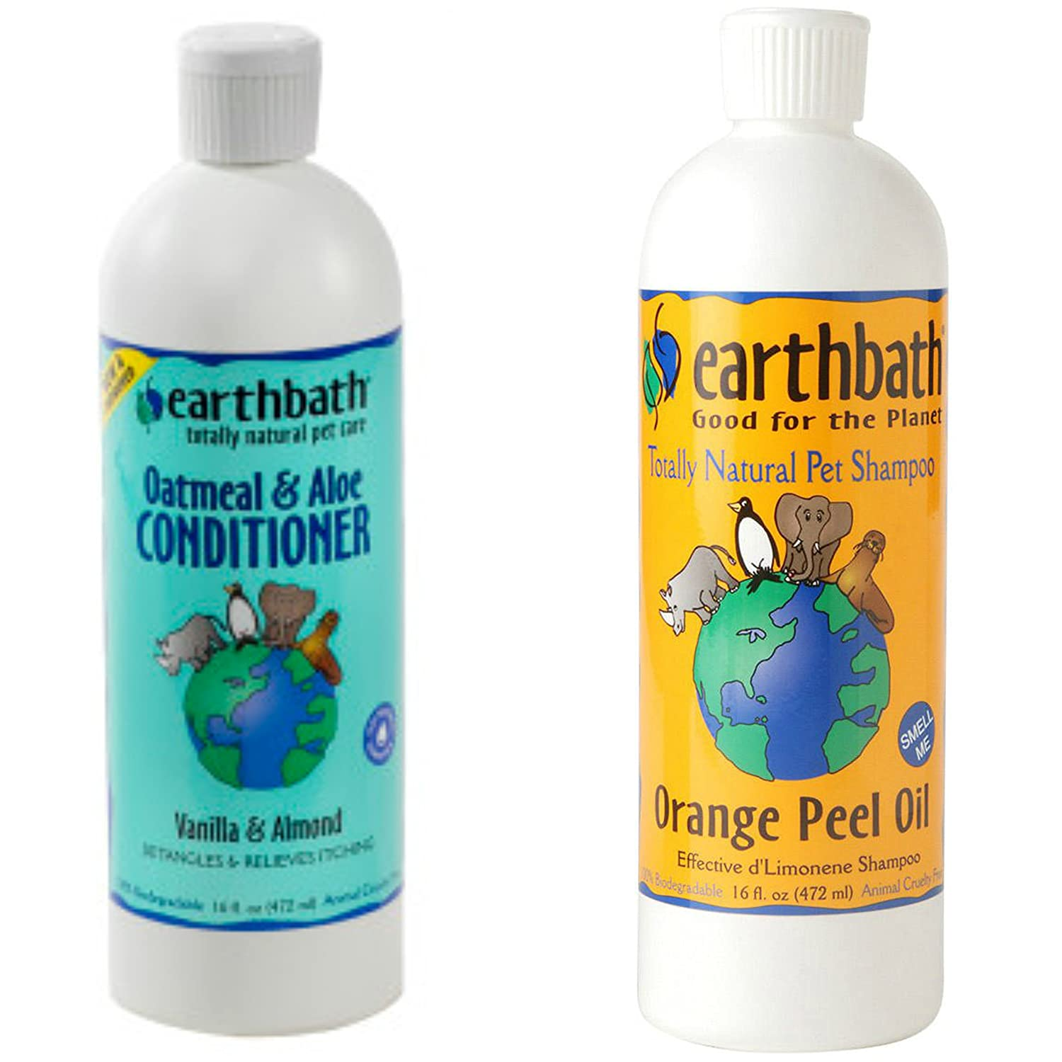 Earthbath Orange Peel Oil Shampoo for Dogs, 16-oz Oatmeal and Aloe Conditioner for Dogs, Vanilla and Almond Scent, 16 oz