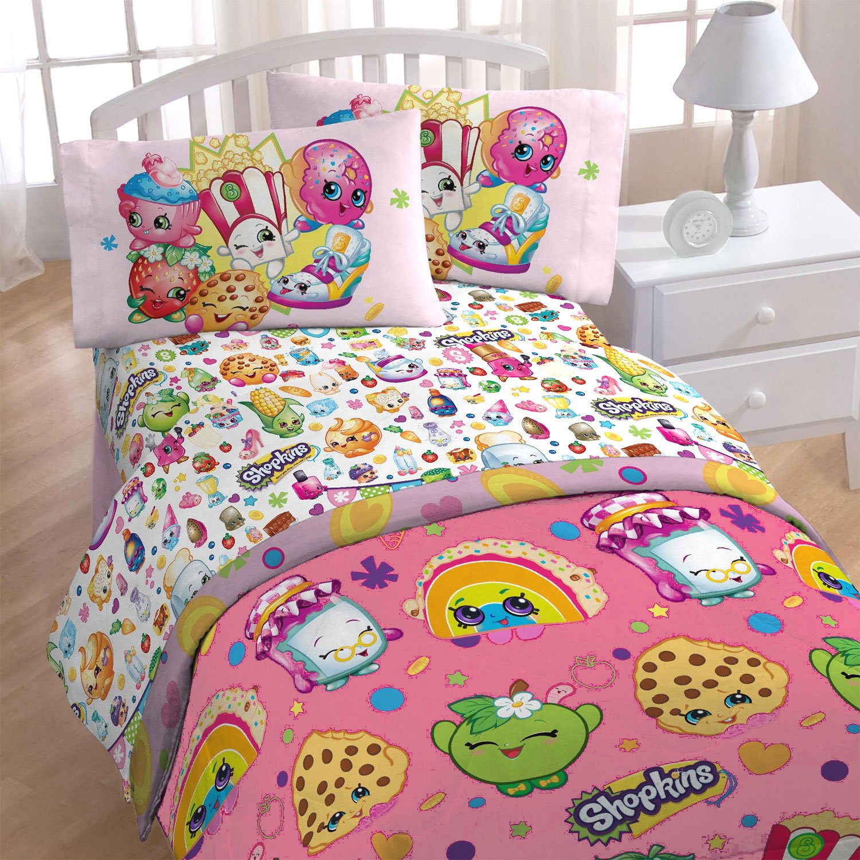 4pc Shopkins Twin Bedding Set I Love Shopping Comforter and Sheet Set
