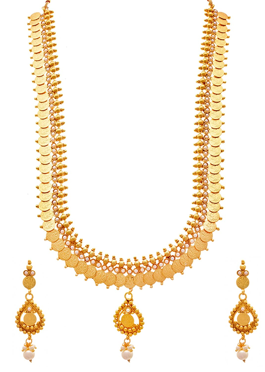 91b4ac168a32f JFL - Traditional Ethnic Temple Laxmi Goddess Coin One Gram Gold Plated  Stones & Pearls Designer Long Necklace Set for Women & Girls.