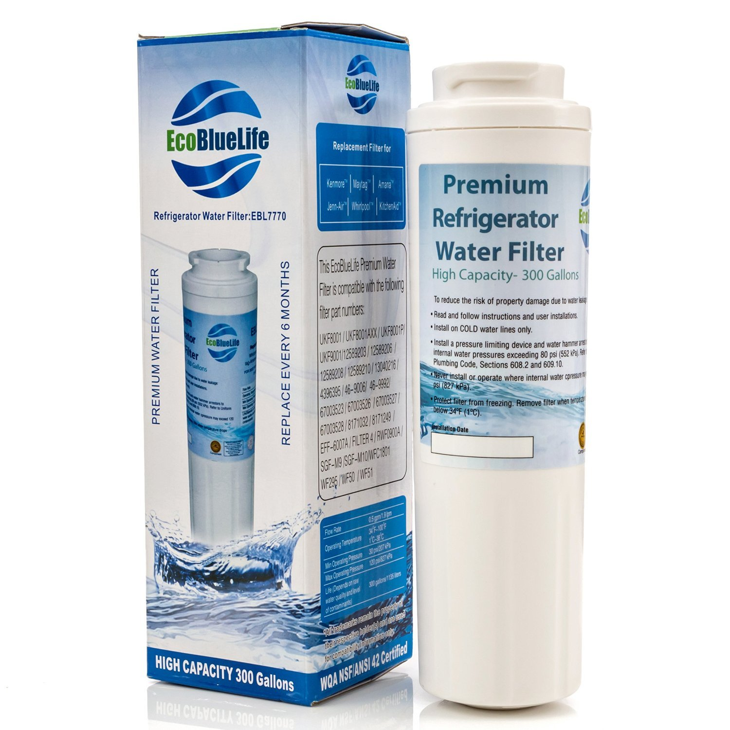 EcoBlueLife Whirlpool Maytag UKF8001, EDR4RXD1 4396395, Pur Filter 4, Kenmore 46-9005, Mist, More Pure, Compatible Refrigerator Water Filter Replacement
