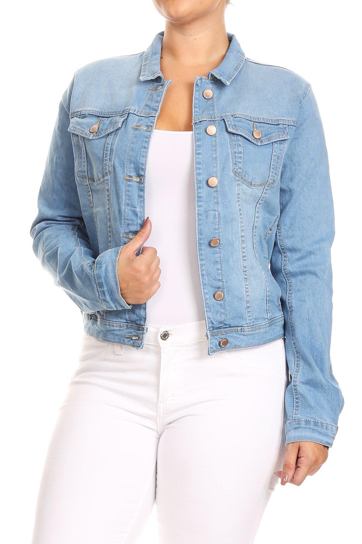 Women's Premium Denim Jackets Long Sleeve Jean Coats in Light Blue Size XL