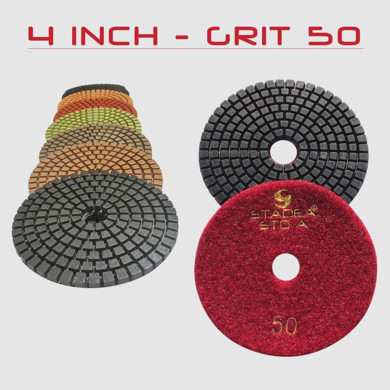 Rubber Backer For CONCRETE Polish STADEA Premium Grade Wet 4 Diamond Polishing Pads Set