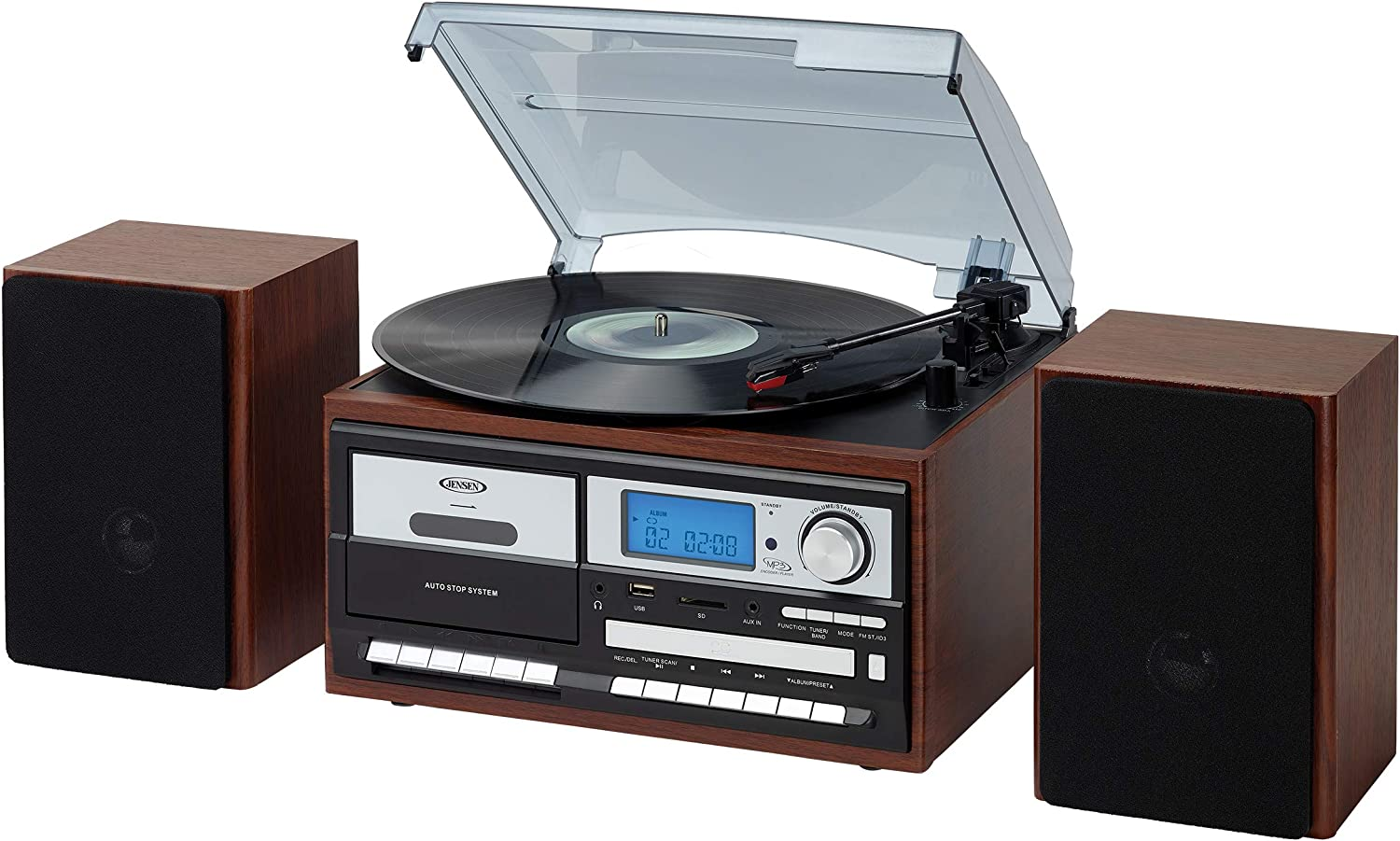 Jensen JTA-575WG All-in-One Modern Home Record Player Stereo 3-Speed Turntable Music Multimedia System + CD/MP3 USB/SD Encoding AM/FM Radio, Cassette Player/Recorder + Remote Walnut Wooden Speakers