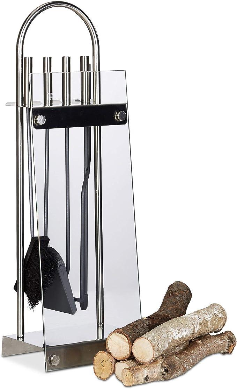 Relaxdays Set de 4 Accessoires de chemin/ée en Fonte avec Pelle et Support pour Porte de chemin/ée Noir