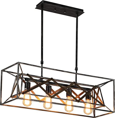Industrial Kitchen Pendant Island Lighting, 4-Light Vintage Pendant Light Fixture, Industrial Rectangle Trapezoid Frame Brush Metal Finish Chandelier 240W max, Bulb not Included