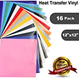 "Heat Transfer Vinyl for T-Shirts , 16 Pack - 12""x 12"" Sheets - Assorted Colors , Iron On HTV for Cricut and Silhouette Cameo (U-ZM)"