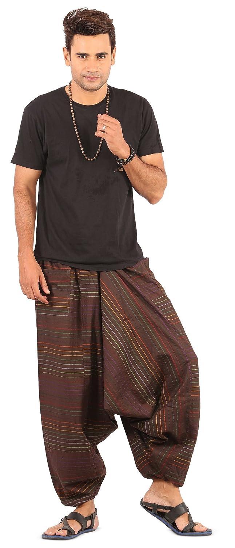 Mens Womens Yoga Boho Hippie Wide Leg Cotton Harem Pants Stripes Style