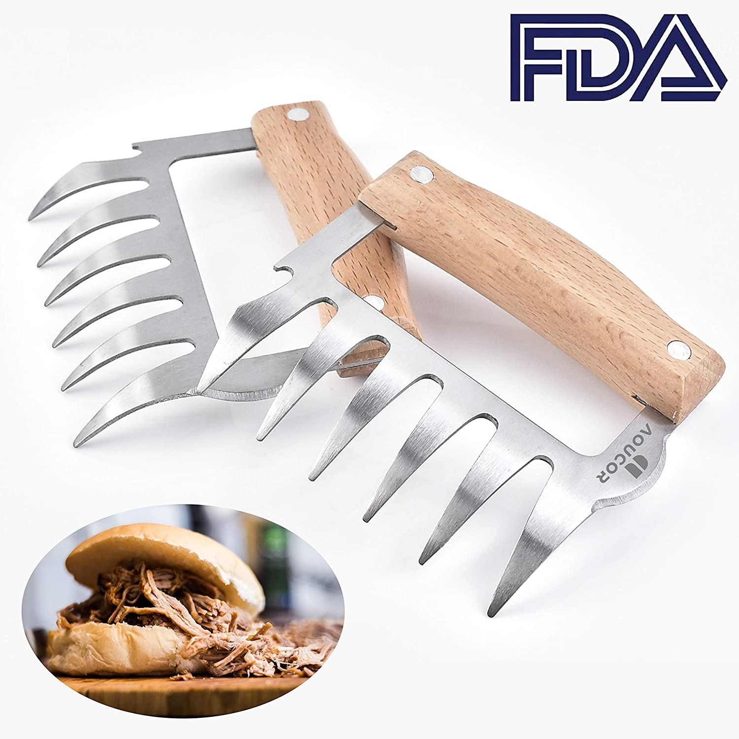Aoucor Meat Claws Stainless Steel Meat Shredder Wood Handle, BBQ Tool Shredding, Pulling, Handing, Lifting & Serving Pork, Turkey, Chicken, Brisket - Set of 2