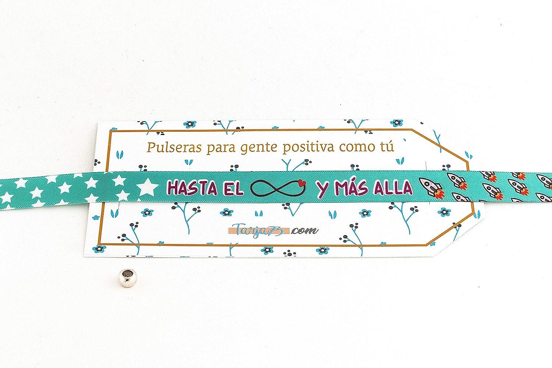 Pulseras de tela con frases molonas: HASTA EL INFINITO Y MÁS ALLÁ | Regalo original: Amazon.es: Hogar