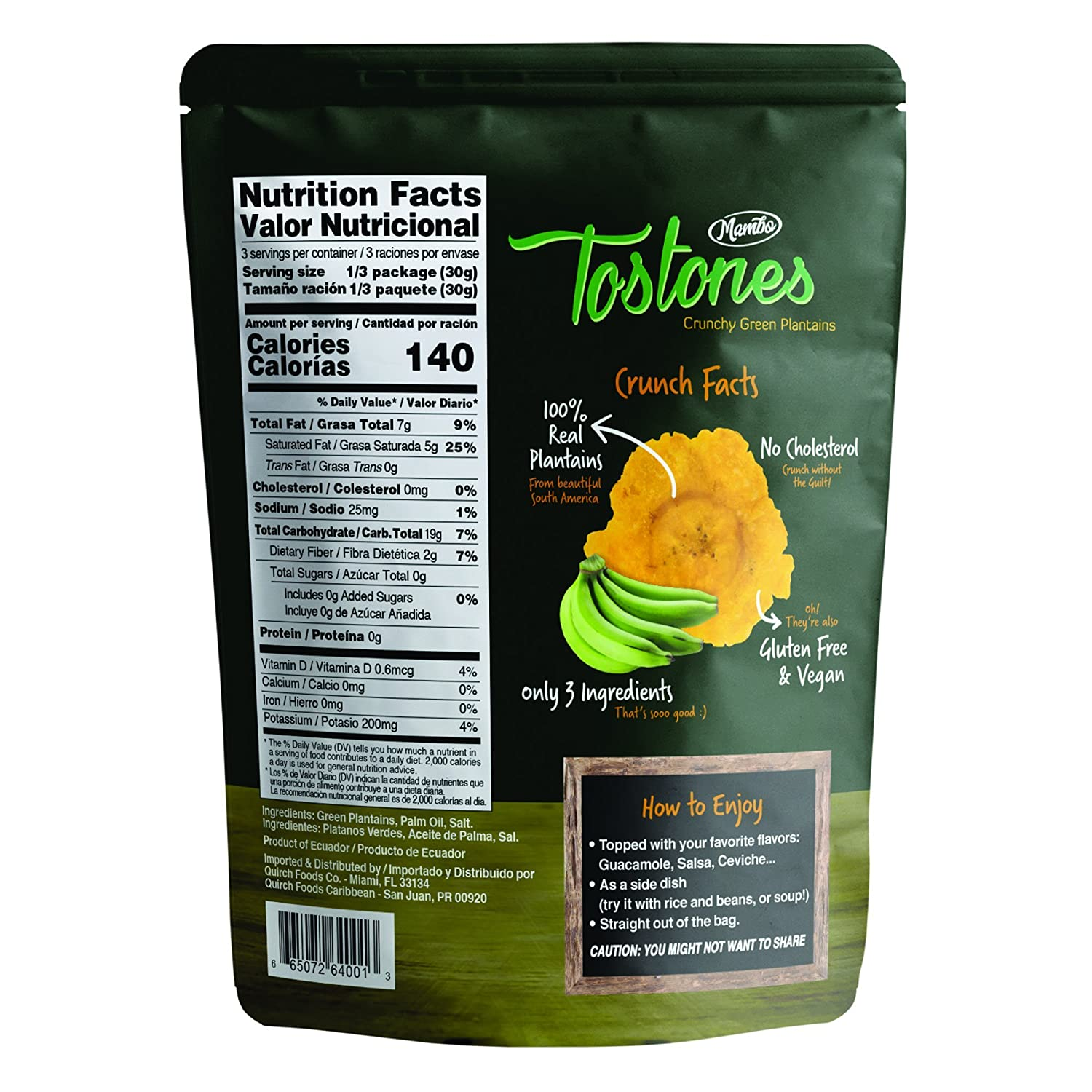 Amazon.com: Mambo Tostones, All-Natural Green Plantains Tostones, 3.53 oz unit, 1 bag, Plantain Chips, Tostones Chips, Gluten-Free, Only Three Ingredients ...