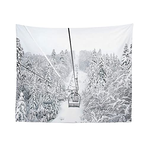 Winter Skiing Tapestry Wall Hanging Mountain Ski Snowy Lift Tapestries Dorm Room Bedroom Decor Art – Printed in the USA – Small to Giant Sizes