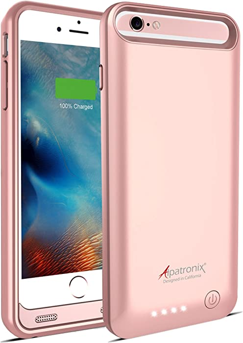 iPhone 6S/6 Battery Case, MFi Certified Slim Protective Extended Charging Case with Built-in Polymer Battery Compatible with iPhone 6S & iPhone 6 (4.7 inch) BX140 - Rose Gold
