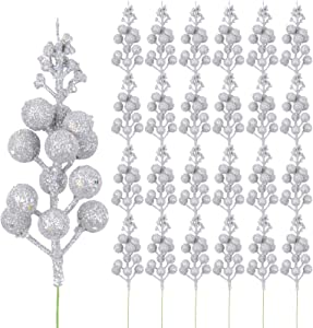 Meiliy 24 PCS Christmas Glitter Berries Stems Artificial Silver Berry Picks for Christmas Tree Ornaments Decorations DIY Xmas Wreath Crafts Wedding Holiday Home Decor