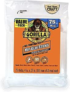 """Gorilla Hot Glue Sticks, Mini Size, 4"""" Long x .27"""" Diameter, 75 Count, Clear, (Pack of 1)"""