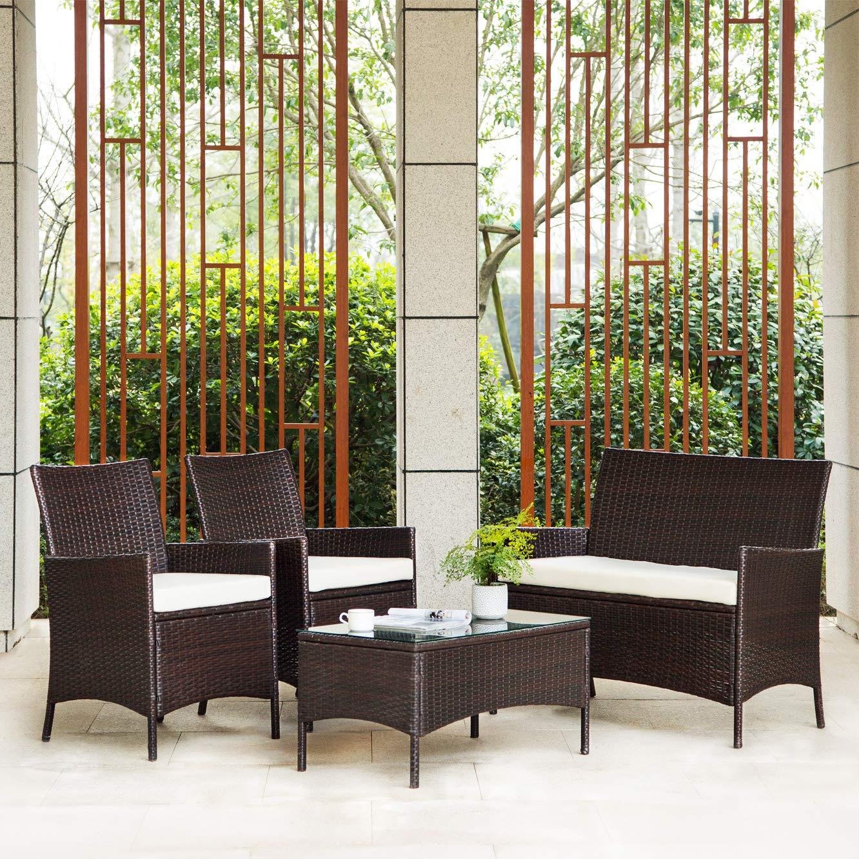 IntimaTe WM Heart Conjunto Muebles de Jardín Cafetería Sofá Exterior en Poly Ratán con Conjín, Ideal para Balcón y Terraza - Set de 2 Sillones, 1 Sofá ...